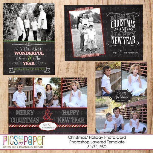 Chalkboard Christmas Cards PSD Template photoshop templates Pics and Paper    Mygrafico