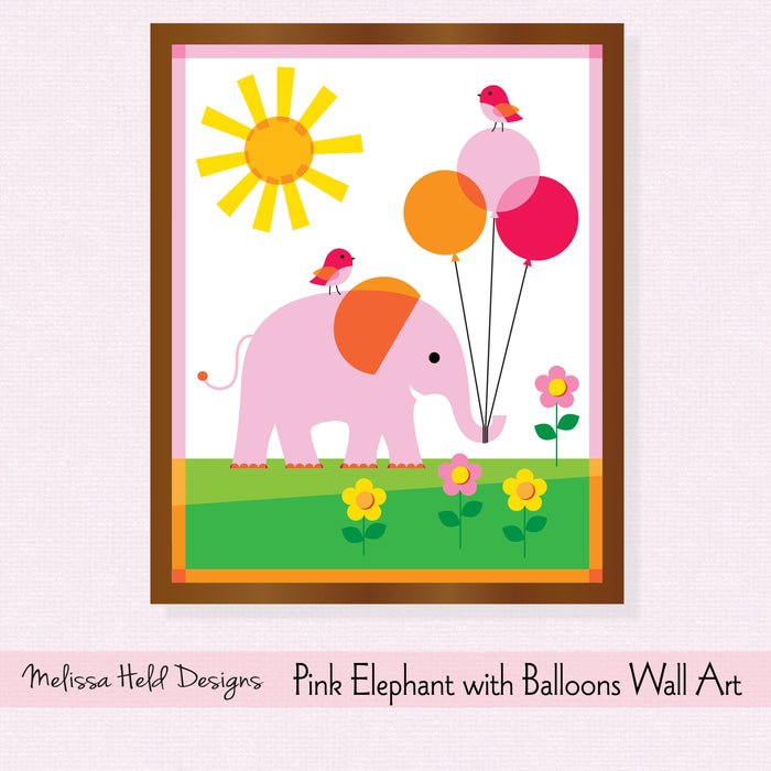 Pink Elephant with Balloons Wall Art Digital Paper & Backgrounds Melissa Held Designs    Mygrafico