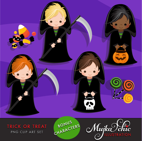 Halloween Trick or Treat Clipart with Halloween boy characters  Mujka Chic    Mygrafico