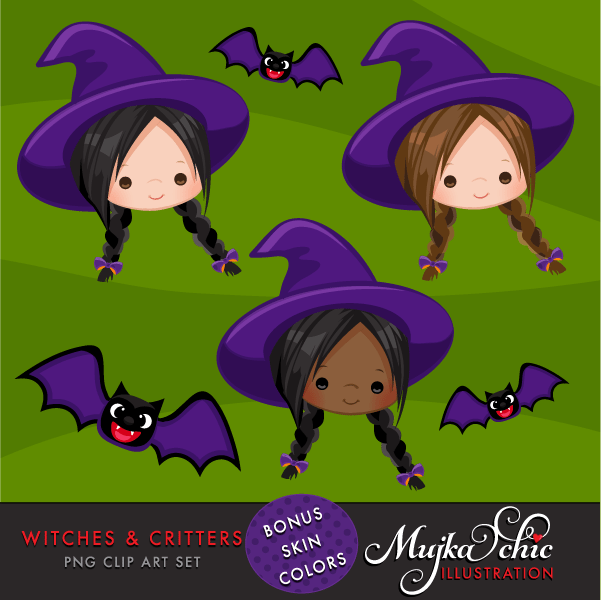 Halloween Witches & Critters Clipart  Mujka Chic    Mygrafico
