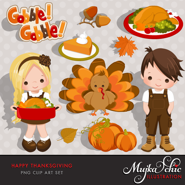 Happy Thanksgiving Clipart Instant Download Thanksgiving Graphics  Mujka Chic    Mygrafico