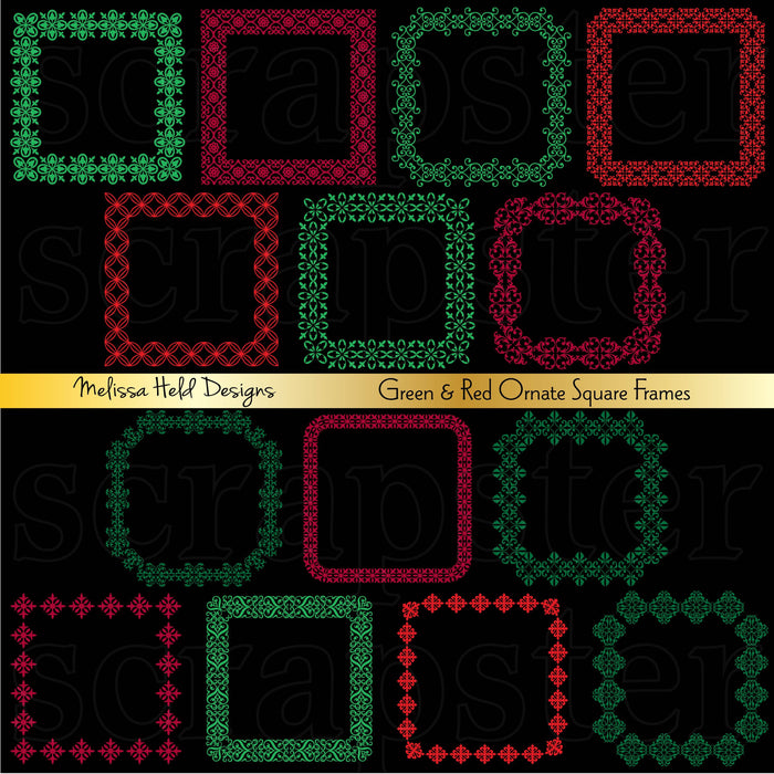 Red and Green Ornate Square Frames Cliparts Melissa Held Designs    Mygrafico