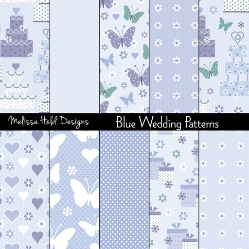 Blue Wedding patterns Digital Paper & Backgrounds Melissa Held Designs    Mygrafico