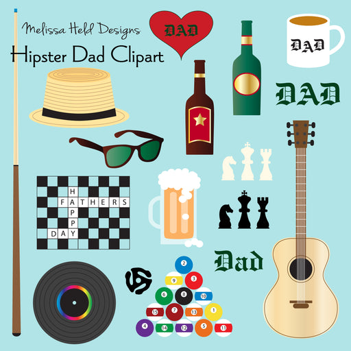 Hipster Dad Clipart Clipart & Digital Paper Melissa Held Designs    Mygrafico