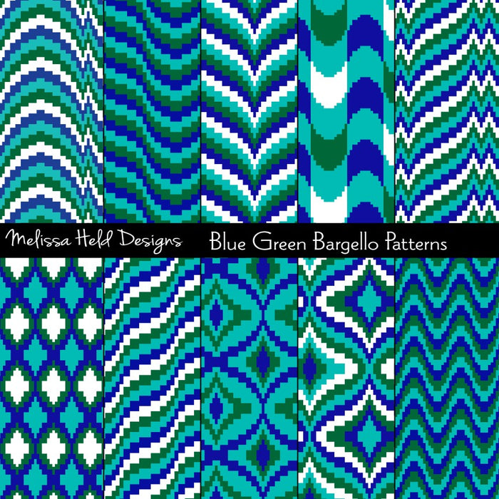 Blue Green Bargello Patterns Digital Paper & Backgrounds Melissa Held Designs    Mygrafico