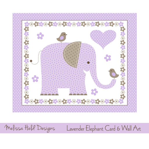 Lavender Elephant Card and Wall Art Digital Paper & Backgrounds Melissa Held Designs    Mygrafico