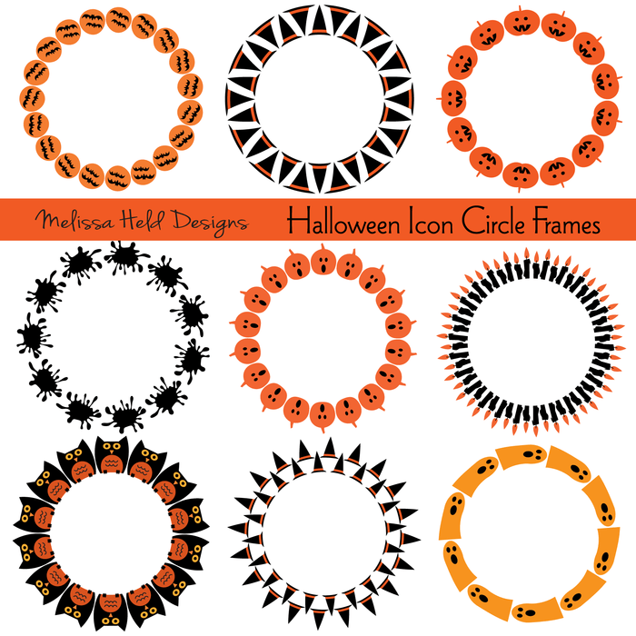Halloween Icons Circle Frames Clipart Clipart Melissa Held Designs    Mygrafico