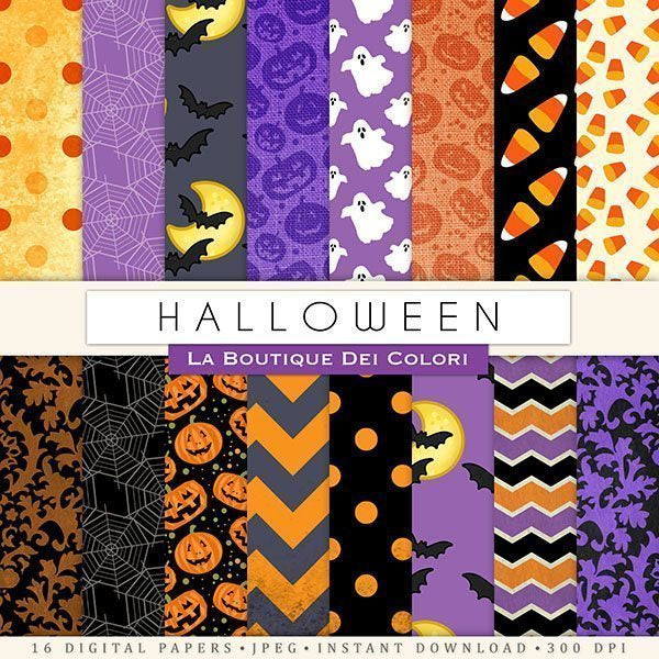 Halloween Digital Papers  La Boutique Dei Colori    Mygrafico