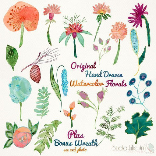 Watercolor Florals 2 Vector EPS  Studio Julie Ann    Mygrafico