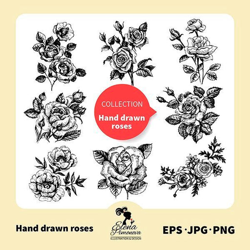 Hand drawn rose stamps  Elena Pimonova    Mygrafico
