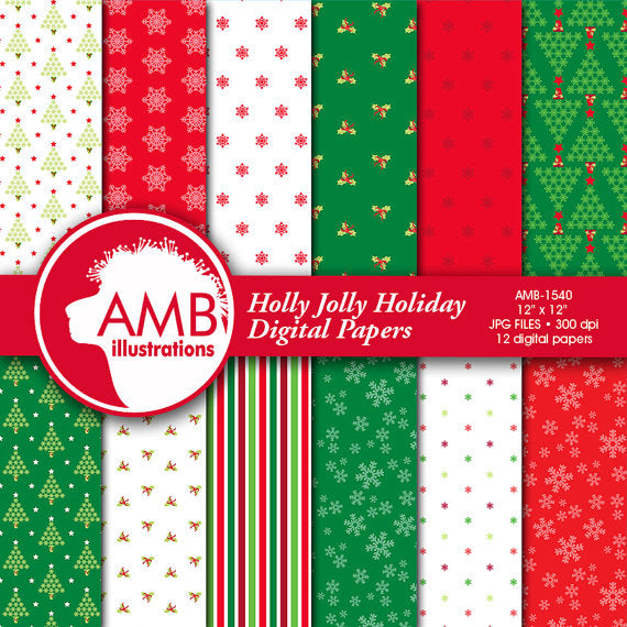 Holly Jolly Christmas Backgrounds Digital Papers & Background AMBillustrations    Mygrafico