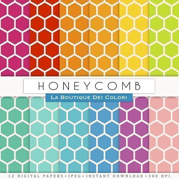 Colorful Honeycomb Digital Paper  La Boutique Dei Colori    Mygrafico
