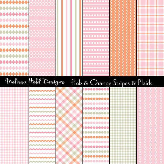 Pink Orange Stripes and Plaids Digital Paper & Backgrounds Melissa Held Designs    Mygrafico