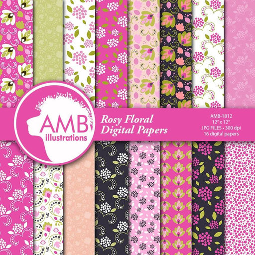 Floral Digital Papers, Pink Shabby chic papers, vintage flowers, pink floral digital papers, pink floral pattern, country chic, AMB-1812 Digital Paper & Backgrounds AMBillustrations    Mygrafico