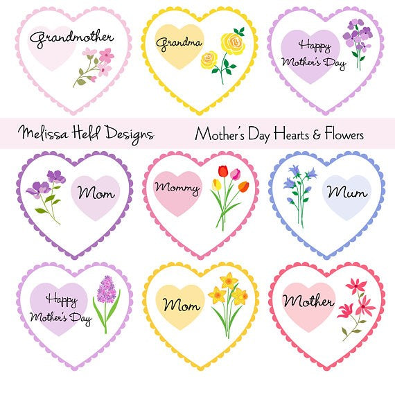 "Mother""s Day Hearts and Flowers Clipart Cliparts Melissa Held Designs    Mygrafico"