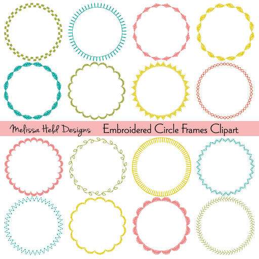 Embroidered Circle Frames Digital Clipart