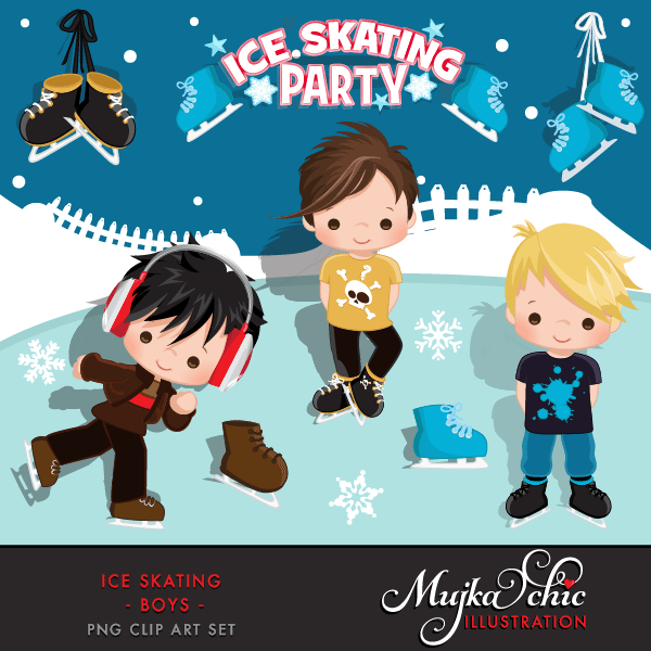 Ice Skating Party Boys Clipart Instant Download Winter Outdoor Graphics Ice Skating with cute characters  Mujka Chic    Mygrafico