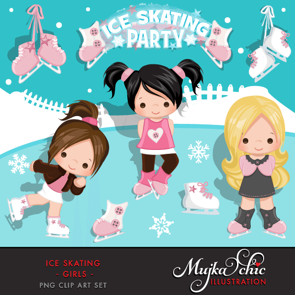Ice Skating Party Girls Clipart Instant Download Winter Outdoor Graphics Ice Skating with cute characters  Mujka Chic    Mygrafico