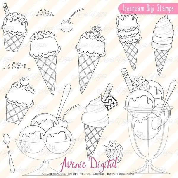 Yummy Icecream Digital Stamps  Avenie Digital    Mygrafico