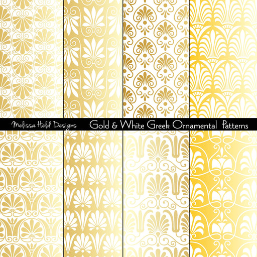 Gold and White Greek Ornamental Patterns
