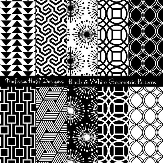 Black and White Geometric Patterns Digital Paper & Backgrounds Melissa Held Designs    Mygrafico