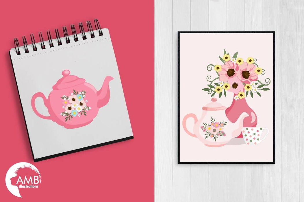 Tea time clipart, Teapot, Tea Party Clipart, Tea pot, tea time, Teatime Pink FLOWERS clipart for scrapbooking, commercial use, AMB-1981 Cliparts AMBillustrations    Mygrafico