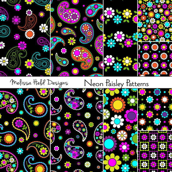 Neon Paisley Patterns Digital Paper & Backgrounds Melissa Held Designs    Mygrafico