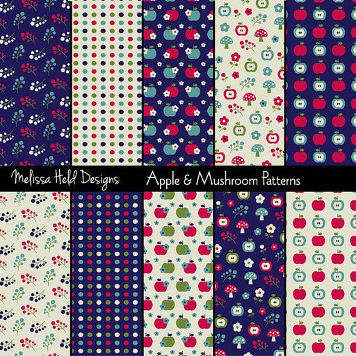 Apples and Mushrooms Patterns Digital Paper & Backgrounds Melissa Held Designs    Mygrafico