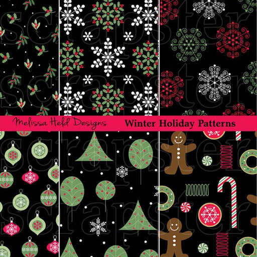 Black and Green Christmas Patterns Digital Paper & Backgrounds Melissa Held Designs    Mygrafico