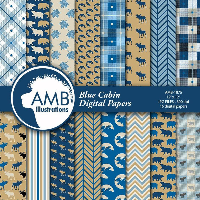 Cabin life digital paper, Family lodge scrapbook paper, rustic cabin paper, blue plaid, buffalo plaid, moose pattern, bear pattern, AMB-1875 Digital Paper & Backgrounds AMBillustrations    Mygrafico