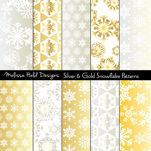 Silver & Gold Snowflake Patterns Digital Paper & Backgrounds Melissa Held Designs    Mygrafico