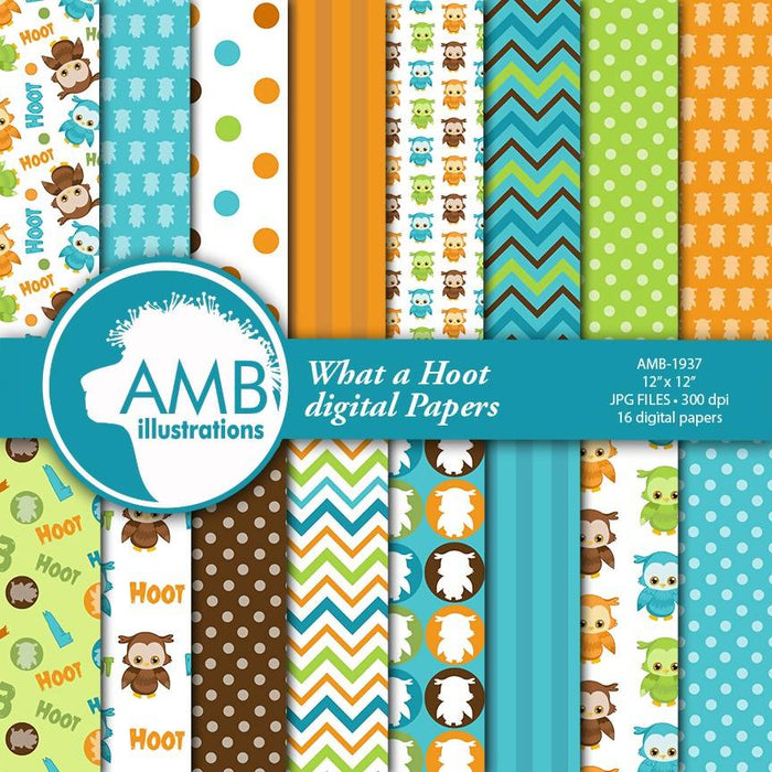 Owl Digital Papers, Owl Birthday, striped papers, dotted papers, numbers papers, Scrapbook Papers, commercial use, AMB-1937 Digital Paper & Backgrounds AMBillustrations    Mygrafico