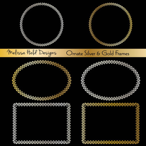 Ornate Silver and Gold Frames and Labels Cliparts Melissa Held Designs    Mygrafico