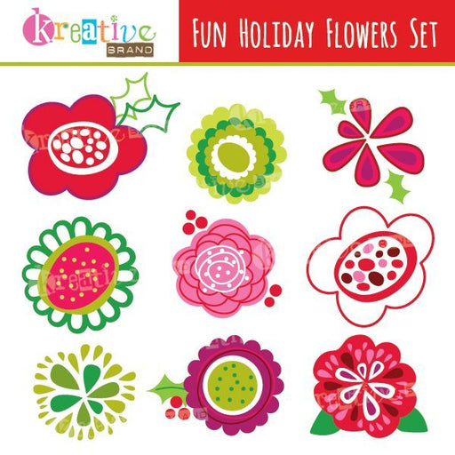 Fun Holiday Flowers Clipart  Kreative Brand    Mygrafico