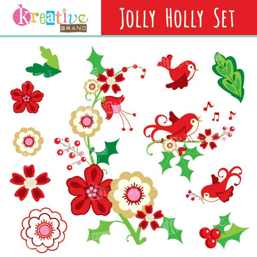 Jolly Holly Clipart  Kreative Brand    Mygrafico