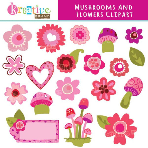 Mushrooms and Flowers Clipart  Kreative Brand    Mygrafico