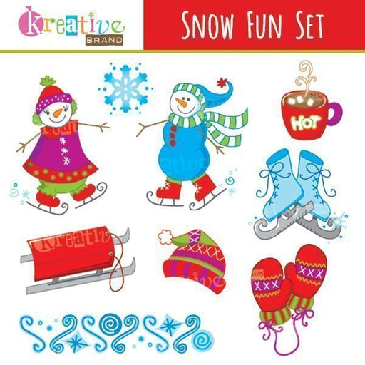 Snow Fun Clipart  Kreative Brand    Mygrafico