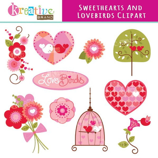 Sweethearts and Lovebirds Valentine Clipart  Kreative Brand    Mygrafico