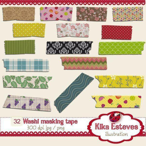 32 Washi Tapes Cliparts Kika Digital    Mygrafico