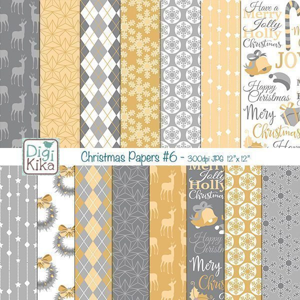 Christmas Gold and Silver Digital Papers II  Kika Digital    Mygrafico