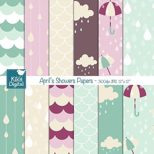 April Showers Seamless Papers  Kika Digital    Mygrafico