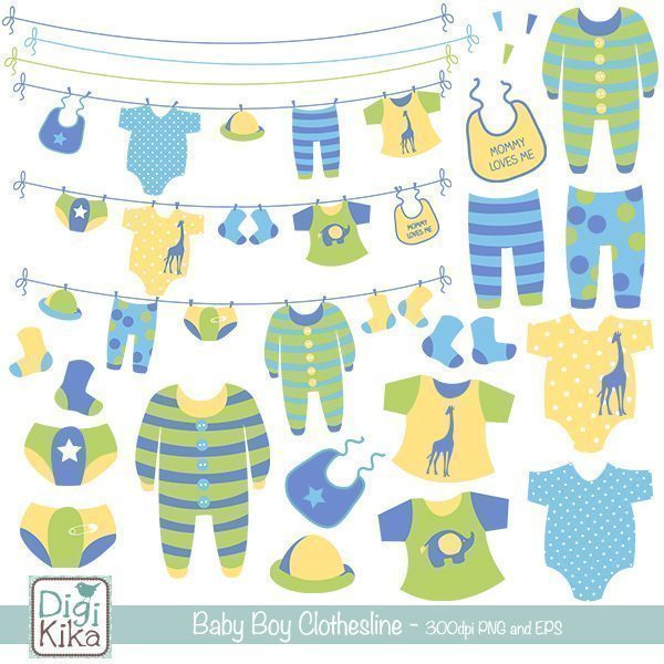 Baby Boy Clothesline Clipart  Kika Digital    Mygrafico