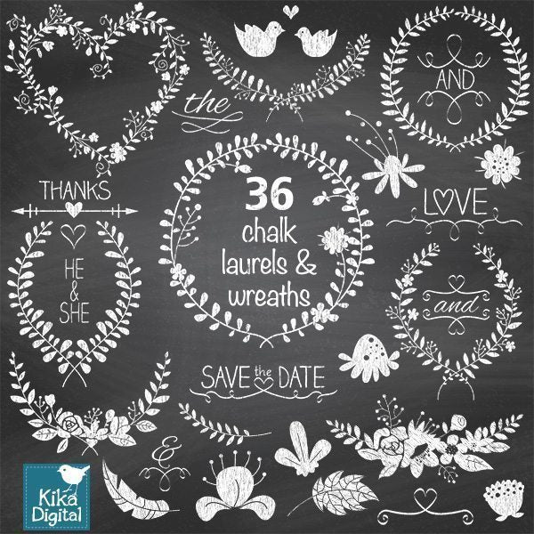 Chalk Laurels Clip Art  Kika Digital    Mygrafico