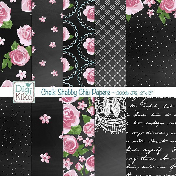 Chalk Shabby Chic Papers  Kika Digital    Mygrafico