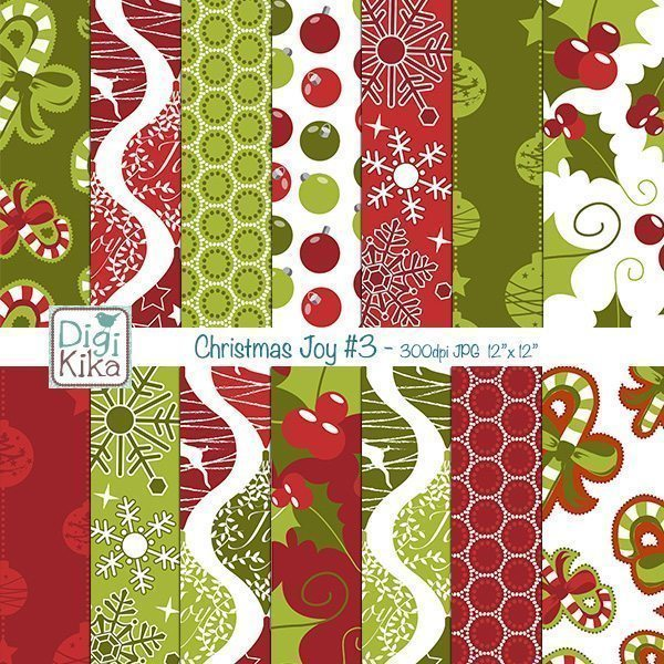 Christmas Joy Seamless Papers  Kika Digital    Mygrafico