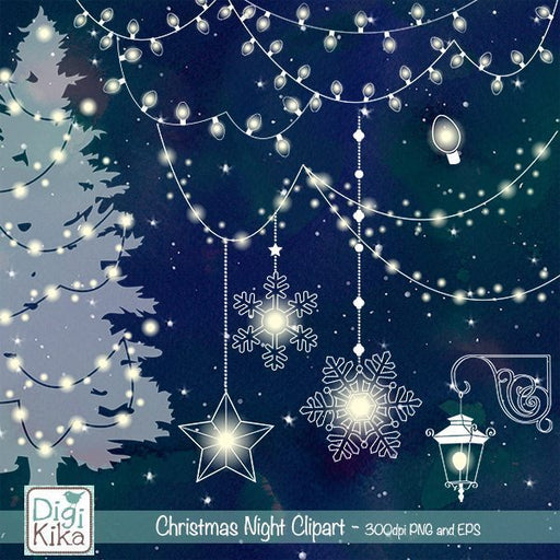 Christmas Night Clipart  Kika Digital    Mygrafico