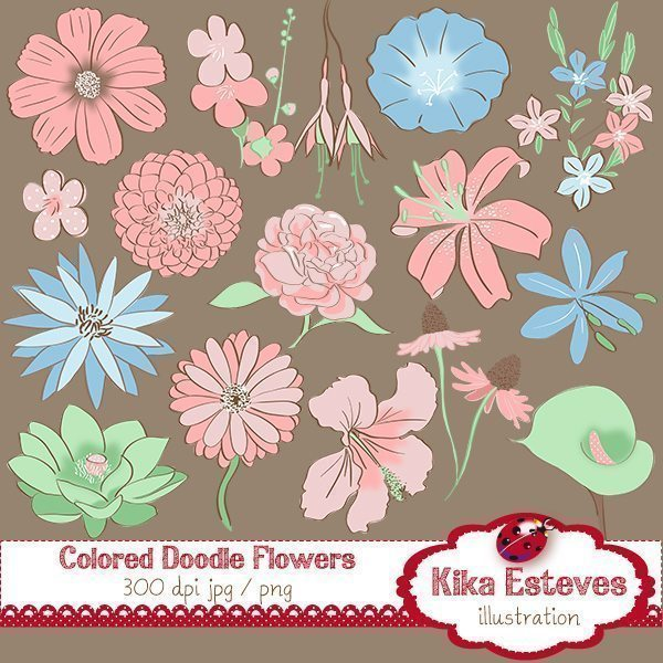Colored Doodle Flowers Cliparts Kika Digital    Mygrafico