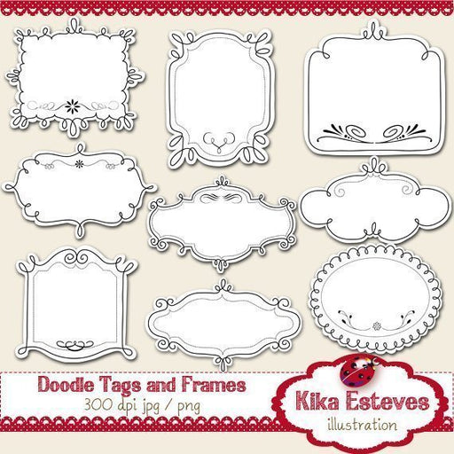 Doodle Tags and Frames  Kika Digital    Mygrafico