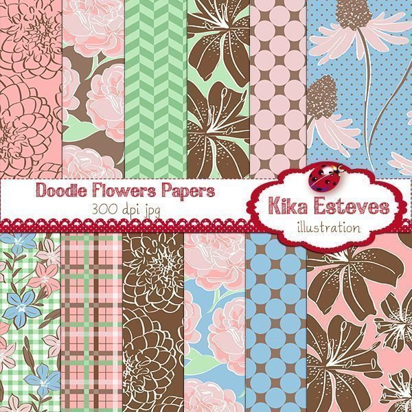 Doodle Flowers Papers  Kika Digital    Mygrafico
