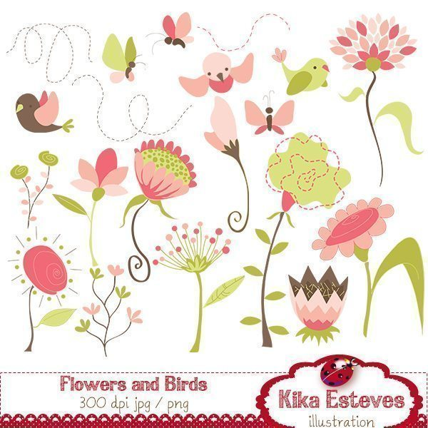 Flowers and Birds  Kika Digital    Mygrafico